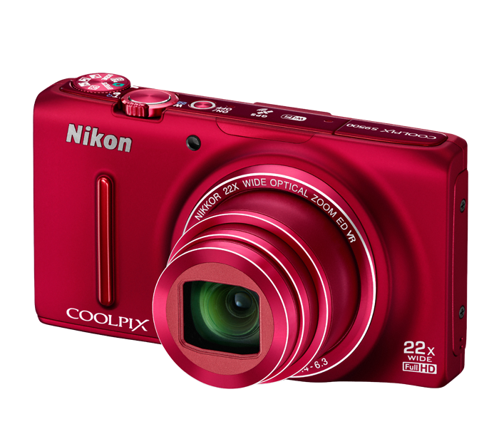coolpix s9500 red_front_left