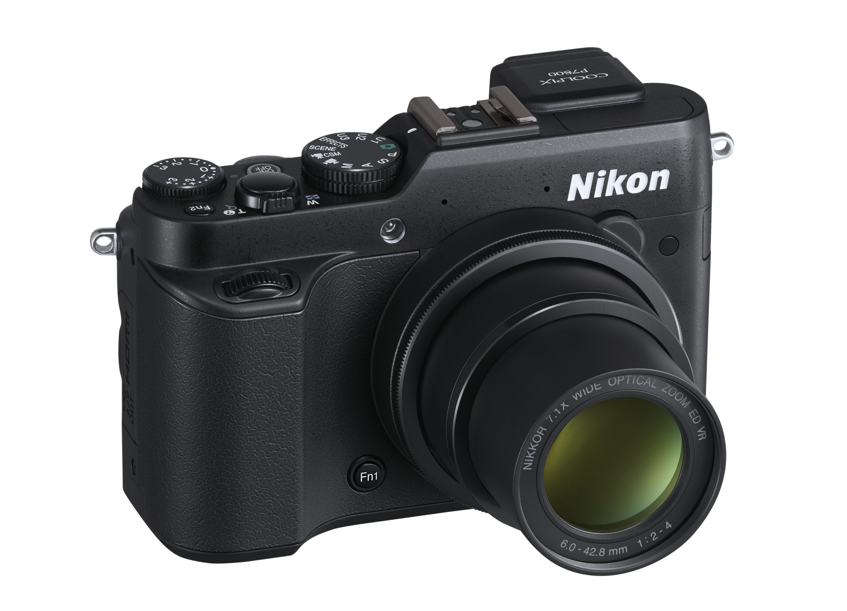 "Nikon COOLPIX P7800. ""The Nikon COOLPIX P7800 is a 12.2 MP advanced performance compact digital camera with a 7.1x optical zoom, and the ability to shoot still images including RAW files, and Full HD 1080p video."""