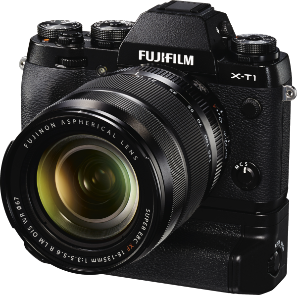 FUJINON XF18-135mmF3.5-5.6 R LM OIS WR lens and FUJIFILM X-T1 camera with vertical battery grip (VG-XT1)
