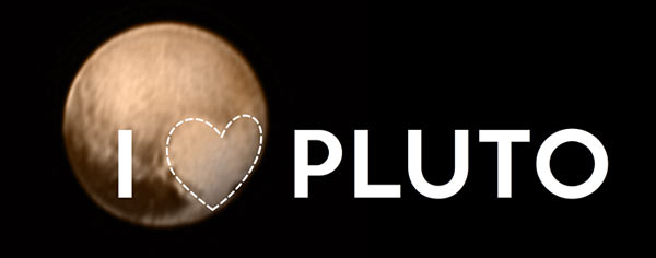 The color photo of an immense, bright feature shaped like a heart on Pluto. Credits: NASA-JHUAPL-SWRI