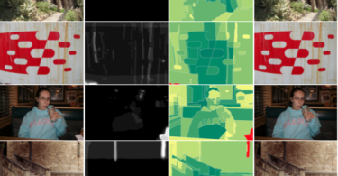Distraction-predicting software in action; photos on the right are the ones with distractions removed.