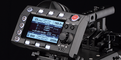 Panasonic VariCam LT: Detachable Control Panel with Monitor. The supplied control panel has a built-in 3.5 type LCD display panel. It can be used for menu operation or as a live/preview monitor. The keys and dials are laid out around the display for quick and accurate operation. Frequently used settings can be accessed directly. The detachable structure allows the camera to be operated from a distance of up to 90 cm.