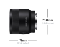 Sony FE 50mm F2.8 Macro: Dimensions (Diameter x Length) 2 7/8 x 2 7/8 inches (70.8 x 71 mm)