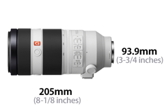 Sony FE 100-400mm F4.5–5.6 GM OSS: dimensions