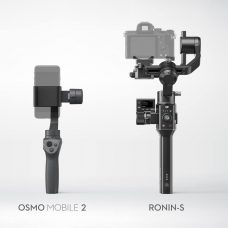 DJI Handheld Camera Stabilizers: Lightweight Osmo Mobile 2 is a Handheld Smartphone Camera Stabilizer, and Ronin-S is a Single-Handed Stabilizer for DSLR and Mirrorless Cameras