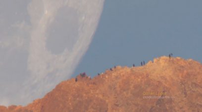Moon Setting Behind Teide Volcano