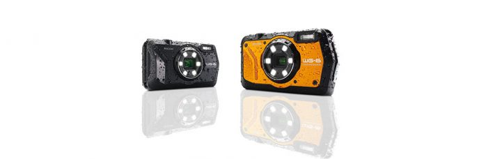 Ricoh WG-6 Rugged Camera: Waterproof to 20 m, Shockproof to 2 m, Freezeproof to −10 °C, 20MP, 4K Video, 5X Optical Zoom, a Six-LED Ring Light, Underwater Mode, Handheld Night Snap Mode, Movie SR+ Mode for Shooting More Active, Fast-action Activities