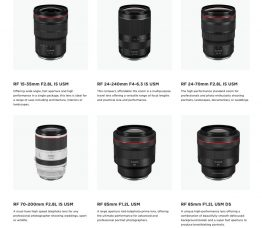Canon is Developing Six RF-series Lenses for the EOS R Full-frame Mirrorless Camera System: RF 85mm F1.2 L USM, RF 85mm F1.2 L USM DS, RF 24-70mm F2.8 L IS USM, RF 15-35mm F2.8 L IS USM, RF 70-200mm F2.8 L IS USM, RF 24-240mm F4-6.3 IS USM