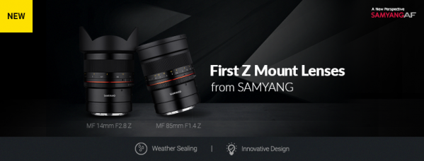 Samyang Announces 3 New Weather-Sealed Lenses for Nikon: the AF 85mm F1.4 F for the Nikon F mount, and the MF 14mm F2.8 Z & MF 85mm F1.4 Z for the Nikon Z Mount Mirrorless Cameras