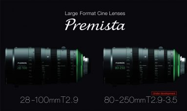 Fujifilm Large Format Cinema Zooms: FUJINON Premista 28-100mm T2.9 Standard Lens and 80-250mm T2.9-3.5 Telephoto Lens (Under Development): High Durability, Compact, Lightweight, Full 280° Angle of Focus Rotation to Help Precise Focusing, Pleasant Bokeh Effect with Shallow Depth-of-field