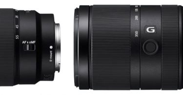 Sony E 16–55mm F2.8 G (left), E 70–350 mm F4.5–6.3 G OSS (right)
