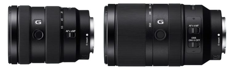 Sony E 16-55mm F2.8 G Standard Zoom and E 70-350mm F4.5-6.3 G OSS Super-telephoto Zoom (Zoom Lock Switch) are APS-C E-Mount Lenses: Fast & Quiet AF and Tracking, AF/MF Focus Mode Switch, Image Stabilization, Customizable Focus Hold Button, Dust & Moisture Resistance, Smooth Bokeh