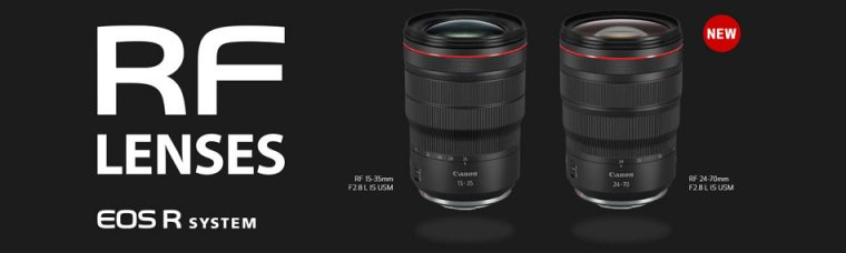 Canon RF15-35mm F2.8 L IS USM, and RF24-70mm F2.8 L IS USM (Reduced Focus Breathing During Manual Focusing) Zoom Lenses for the EOS R Full-Frame Mirrorless Camera System: Fast & Silent AF, Optical Image Stabilization of Up to 5 Stops of Shake Correction, Dust/weather-resistance