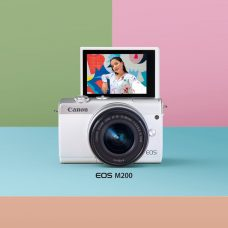 Canon EOS M200 Mirrorless Camera: Stylish, Compact, Lightweight, 24.1-MP APS-C Sensor, Dual Pixel CMOS AF, 4K/24p UHD Video, 143 AF Points, Eye-Detect AF, Vertical Video Support, Selfie-friendly Flip-Up Touchscreen, Creative Assist Mode, Easy Connectivity & Sharing