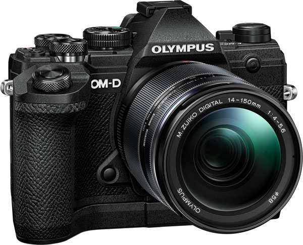 Olympus OM-D E-M5 Mark III (black) with 14-150mm f/4-5.6 lens, and optional Dedicated External Grip ECG-5 for an expanded, sure grip, equipped with a shutter release and control dial