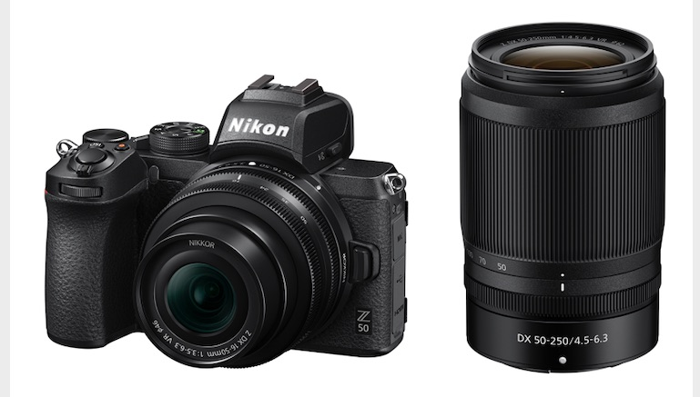 Nikon Z 50 with the NIKKOR Z DX 16-50mm f/3.5-6.3 VR lens (left) and the NIKKOR Z DX 50-250mm f/4.5-6.3 VR lens (right)