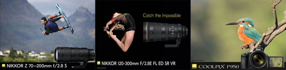 Nikon: Mirrorless NIKKOR Z 70-200mm f/2.8 VR S Lens (With 5 Stops of Built-in Optical VR I.S.) and AF-S NIKKOR 120-300mm f/2.8E FL ED SR VR Super Telephoto Zoom Lens Achieve Highly Precise Chromatic Aberration Compensation Via Newly Developed Lens Element; COOLPIX P950 Superzoom Camera Has 16MP Sensor, 4K UHD/30p Video, 24-2000mm Lens, 83x Optical Zoom, 5.5 Stops of VR I.S., RAW (NRW) Recording, Large OLED EVF, Vari-angle Monitor, Bird-Watching & Moon Modes